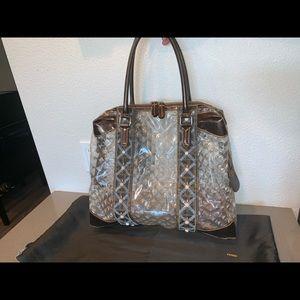 Authentic fendi dome satchel shopper tote pvc bag